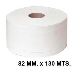 Papel higiénico industrial jumbo q-connect 100% celulosa reciclada, 2 capas, 82 mm. x 130 mts. color blanco.