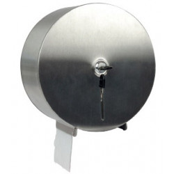Dispensador de papel higiénico industrial jumbo q-connect en acero inoxidable.