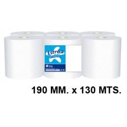 Papel secamanos amoos profesional 100% pura celulosa, 2 capas, 190 mm. x 130 mts. color blanco.