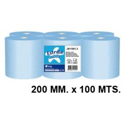 Papel secamanos amoos profesional 100% pura celulosa, 2 capas, 200 mm. x 100 mts. color azul.