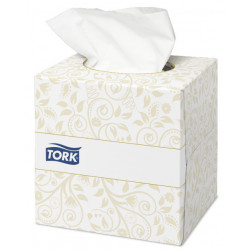 Pañuelo facial de papel tork premium extra soft, 2 capas, 200x209 mm. color blanco, cubo dispensador de 100 uds.