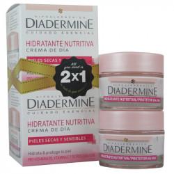 Crema hidratante facial diadermine, caja de 2 botes de 50 ml.