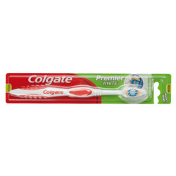 Cepillo dental colgante premier white de dureza media.