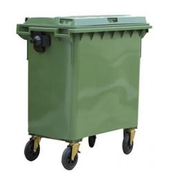 Contenedor de plástico con tapa y ruedas dahi de 136x77x126,9 cm. 800 litros. color verde.