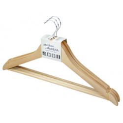 Percha rozenbal madera natural barnizada, pack de 3 unidades.