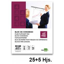 Bloc de papel liso para caballetes de convención liderpapel en formato 63x84 cm. bolsa individual de 25+5 uds.