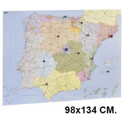 Mapa de españa con la superficie plastificada, presentado enrollado en tubo de cartón faibo de 98x134 cm.