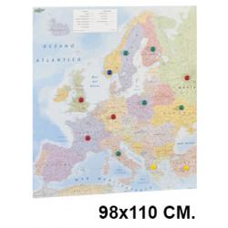 Mapa de europa con la superficie plastificada, presentado enrollado en tubo de cartón faibo de 98x110 cm.
