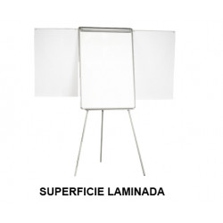 Caballete de convención con brazos extensibles q-connect superficie laminada blanca en formato 70x100 cm.