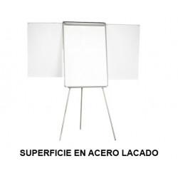 Caballete de convención con brazos extensibles q-connect superficie en acero lacado blanco en formato 70x100 cm.