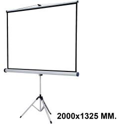 Pantalla de proyección con trípode nobo en formato 2000x1325 mm. color blanco mate.