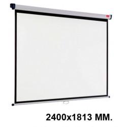 Pantalla de proyección mural nobo en formato 2400x1813 mm. color blanco mate.