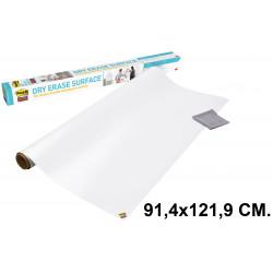 Pizarra adhesiva blanca en rollo 3m post-it super sticky def3x2-eu en formato 91,4x121,9 cm.