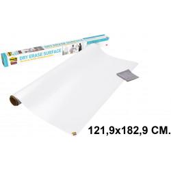 Pizarra adhesiva blanca en rollo 3m post-it super sticky def3x2-eu en formato 121,9x182,9 cm.