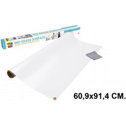Pizarra adhesiva blanca en rollo 3m post-it super sticky def3x2-eu en formato 60,9x91,4 cm.
