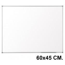 Pizarra de melamina blanca con marco de aluminio q-connect en formato 60x45 cm.
