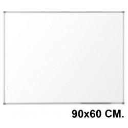 Pizarra de melamina blanca con marco de aluminio q-connect en formato 90x60 cm.