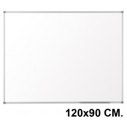 Pizarra de melamina blanca con marco de aluminio q-connect en formato 120x90 cm.