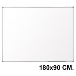 Pizarra de melamina blanca con marco de aluminio q-connect en formato 180x90 cm.