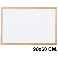 Pizarra de melamina blanca con marco de madera de pino q-connect en formato 90x60 cm.