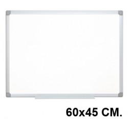 Pizarra de acero lacado blanco con marco de aluminio q-connect en formato 60x45 cm.