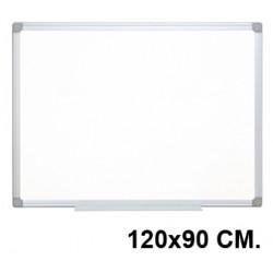 Pizarra de acero lacado blanco con marco de aluminio q-connect en formato 120x90 cm.