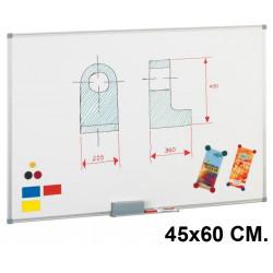 Pizarra de acero lacado blanco con marco de aluminio faibo de 45x60 cm.