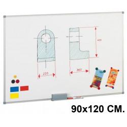 Pizarra de acero lacado blanco con marco de aluminio faibo de 90x120 cm.