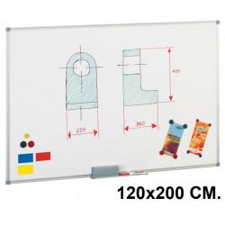 Pizarra de acero lacado blanco con marco de aluminio faibo de 120x200 cm.