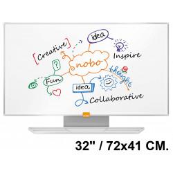 """Pizarra de acero magnético blanco con marco de aluminio nobo nano clean en formato panorámico 32"""" / 72x41 cm."""
