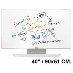 """Pizarra de acero magnético blanco con marco de aluminio nobo nano clean en formato panorámico 40"""" / 90x51 cm."""