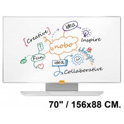 """Pizarra de acero magnético blanco con marco de aluminio nobo nano clean en formato panorámico 70"""" / 156x88 cm."""