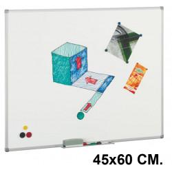 Pizarra blanca superficie acero vitrificado con marco de aluminio faibo de 45x60 cm.