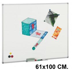 Pizarra blanca superficie acero vitrificado con marco de aluminio faibo de 61x100 cm.