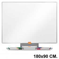 Pizarra de acero vitrificado blanco con marco de aluminio nobo classic en formato 180x90 cm.