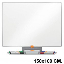 Pizarra de acero vitrificado blanco con marco de aluminio nobo classic en formato 150x100 cm.