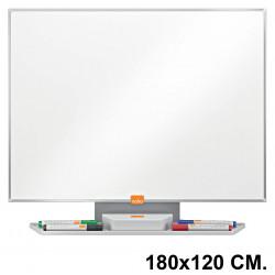 Pizarra de acero vitrificado blanco con marco de aluminio nobo classic en formato 180x120 cm.