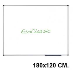 Pizarra de acero vitrificado blanco con marco de aluminio nobo eco-prestige en formato 180x120 cm.