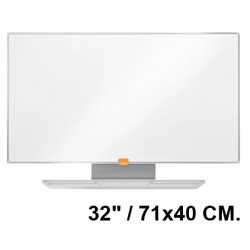 "Pizarra de acero vitrificado blanco con marco de aluminio nobo nano clean en formato panorámico 32"" / 71x40 cm."