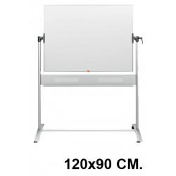 Pizarra de acero vitrificado blanco volteable con marco de aluminio nobo classic en formato 120x90 cm.