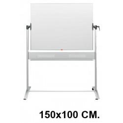 Pizarra de acero vitrificado blanco volteable con marco de aluminio nobo classic en formato 150x100 cm.