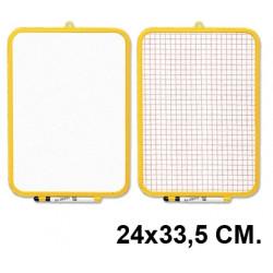 Pizarra 2 superficies blanca y cuadriculada liderpapel en formato 24x33,5 cm.