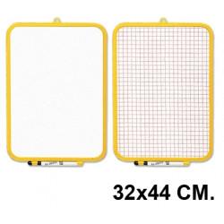 Pizarra 2 superficies blanca y cuadriculada liderpapel en formato 32x44 cm.