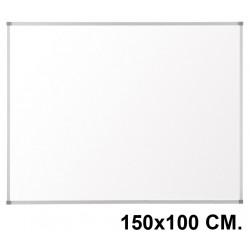 Pizarra laminada blanca con marco de aluminio q-connect en formato 150x100 cm.