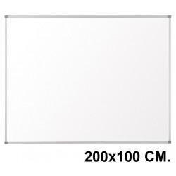Pizarra laminada blanca con marco de aluminio q-connect en formato 200x100 cm.