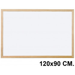 Pizarra laminada blanca con marco de madera de pino q-connect en formato 120x90 cm.