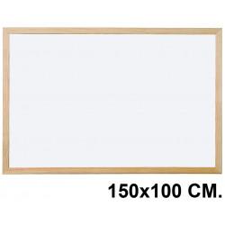 Pizarra laminada blanca con marco de madera de pino q-connect en formato 150x100 cm.