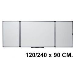 Pizarra tríptica de acero vitrificado blanco con marco de aluminio nobo classic en formato 120/240 x 90 cm.