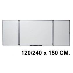 Pizarra tríptica de acero vitrificado blanco con marco de aluminio nobo classic en formato 120/240 x 150 cm.