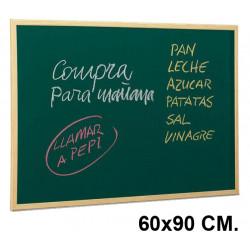 Pizarra verde con marco de madera de pino faibo en formato 60x90 cm.